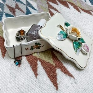 Vintage WWII Era Japanese Rose Floral Trinket Box